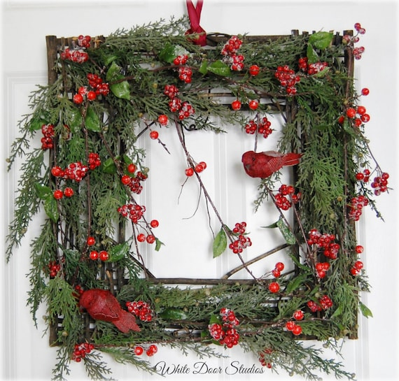 Rustic Square Christmas Wreath,  Front Door Wreath, Winter Wreath, Christmas Decor, Red Bird Wreath, Holiday Decor, Farmhouse Decor
