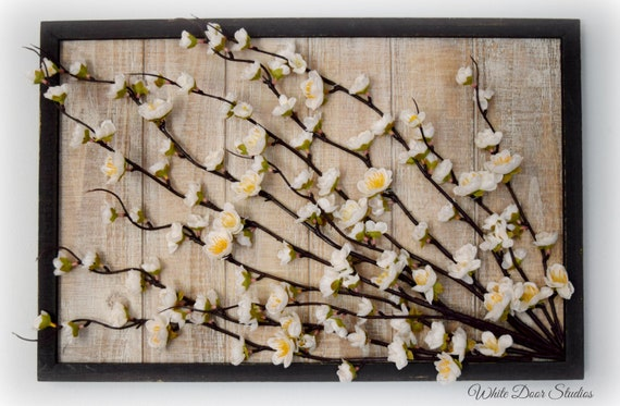 Cherry Blossom Wall Art - Silk Cherry Blossoms on Framed Wood Panel 3D Modern Wall Decor
