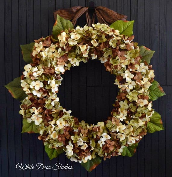 Green Blended Hydrangea Year Round Front Door Wreath