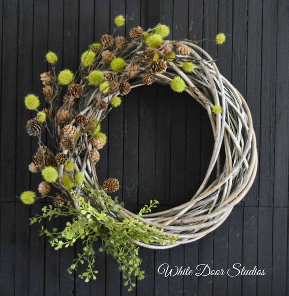 Rustic Woodland Greenery and Pine Cone Autumn Front Door Wreath
