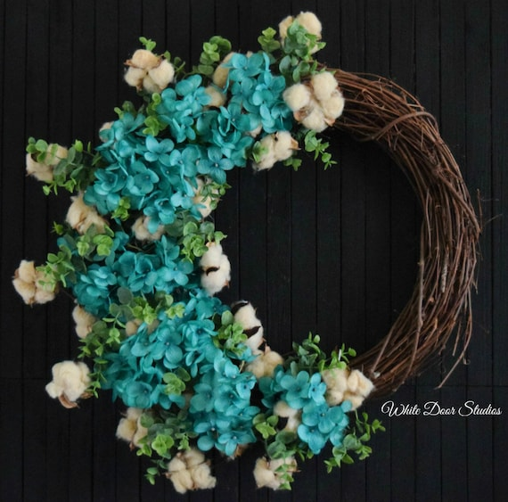 Turqouise Blue Hydrangea and Tea Stained Cotton Spring and Summer Front Door Wreath