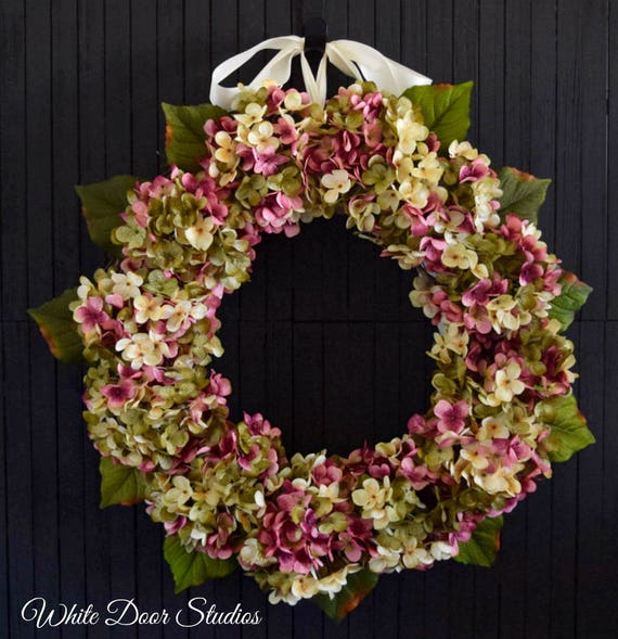 Pink Blended Hydrangea Spring and Summer Front Door Wreath