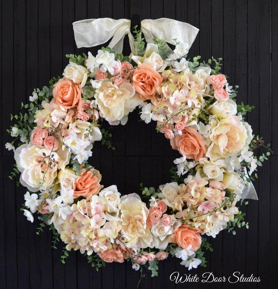 Spring and Summer Blush and Peach Mixed Floral Front Door Wreath