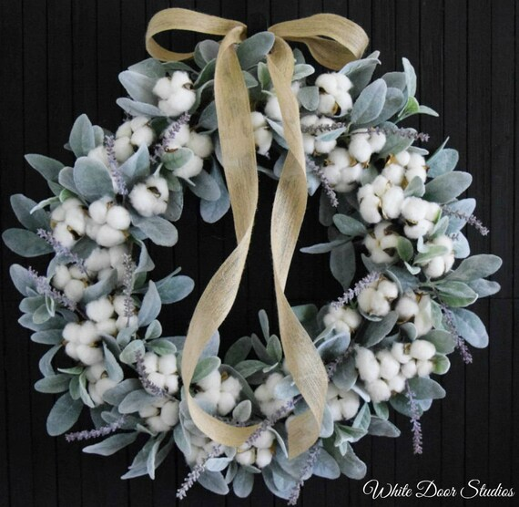 Cotton and Lambs Ear Farmhouse Style Front Door Wreath