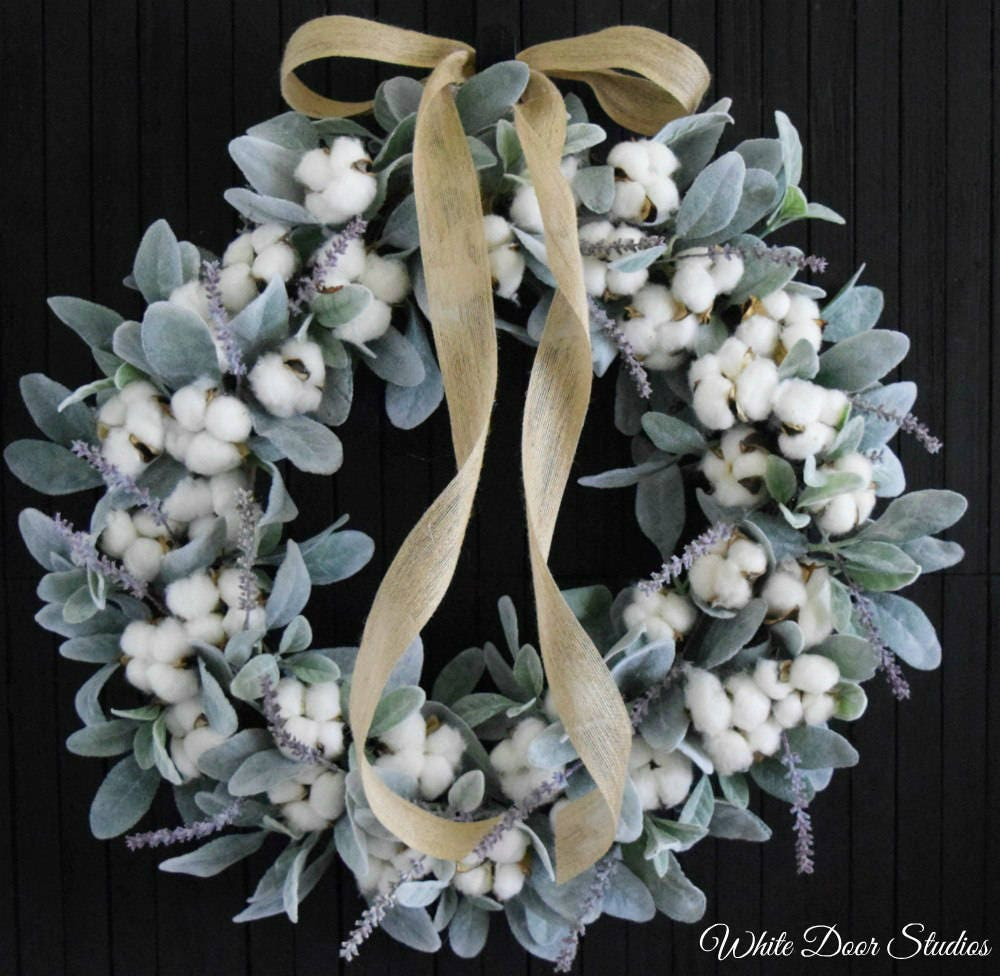 Cotton And Lambs Ear Romantic Farmhouse Wreath With Lavender