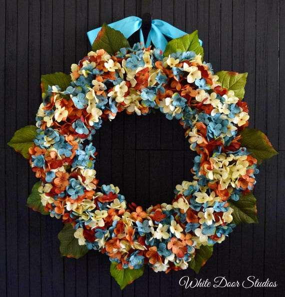 Blue Orange and Cream Blended Hydrangea Summer and Fall Front Door Wreath