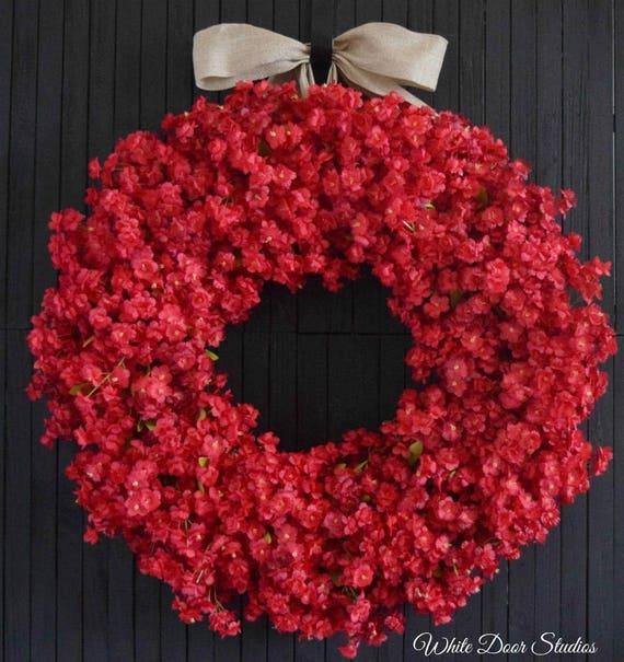 Red Ruffle Flower Wreath for Front Door