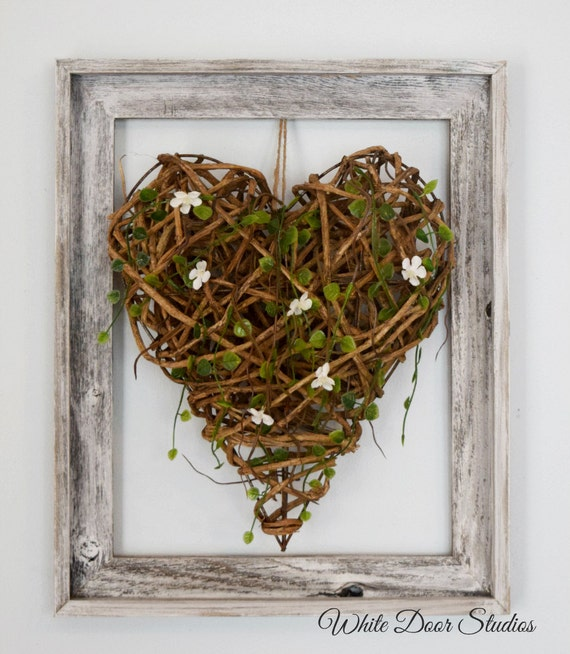 Rustic Framed Wood Heart Wall Decor