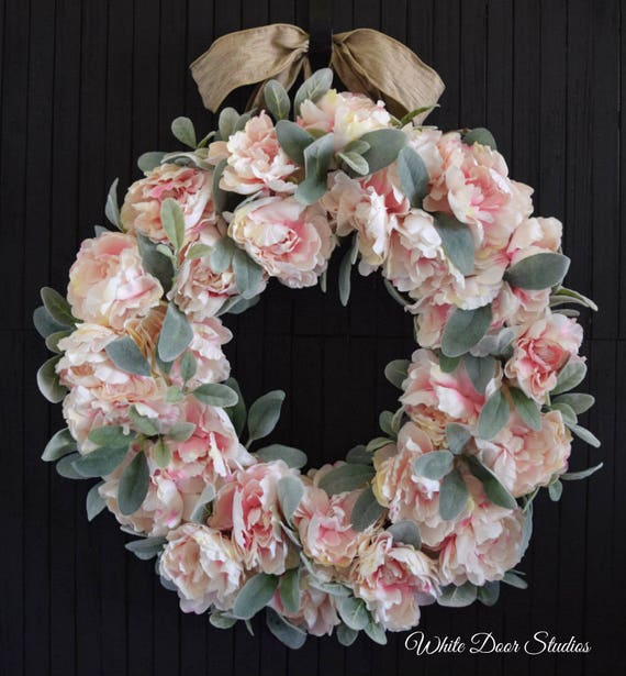 Pink Peony and Lambs Ear Wreath