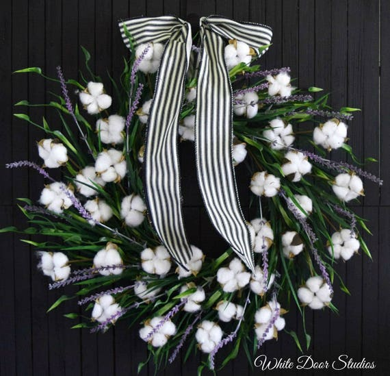 Cotton Lavender and Greenery Front Door Wreath