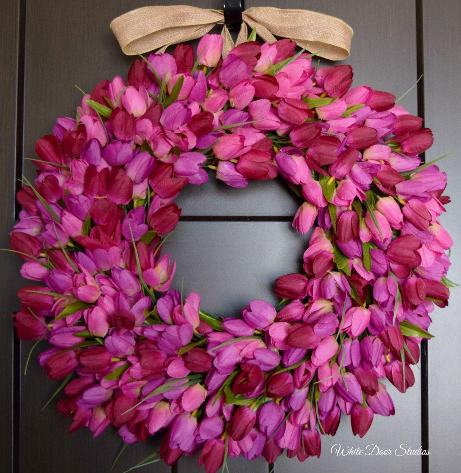 Purple And Wine Blend Tulip Front Door Wreath Spring Summer