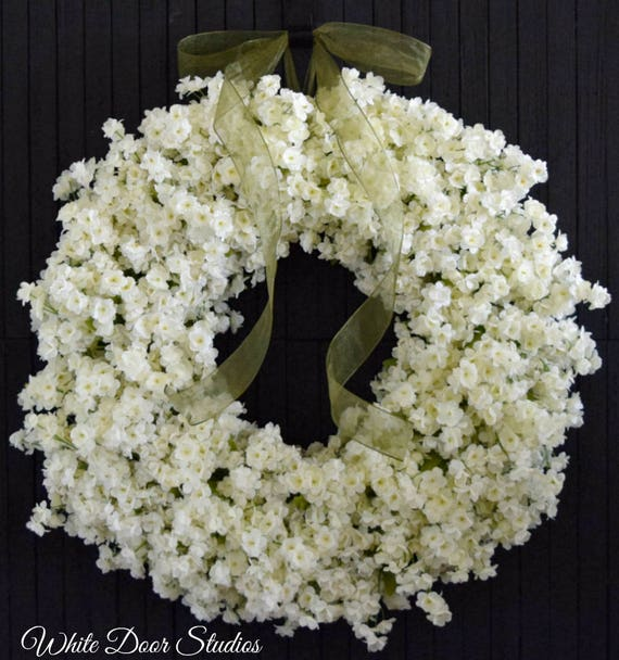 Cream Ruffle Flower Spring and Summer Front Door Wreath