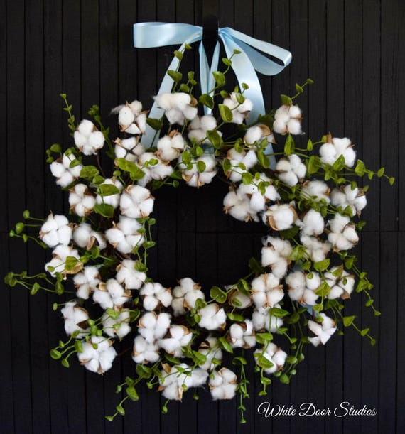 Cotton and Eucalyptus Year Round Front Door Wreath