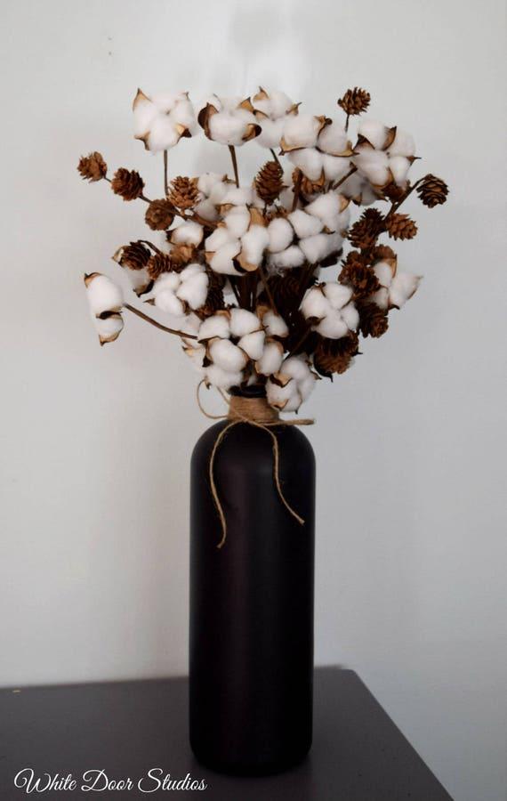 Cotton and Pine Cone Arrangement in Black Chalkboard Vase