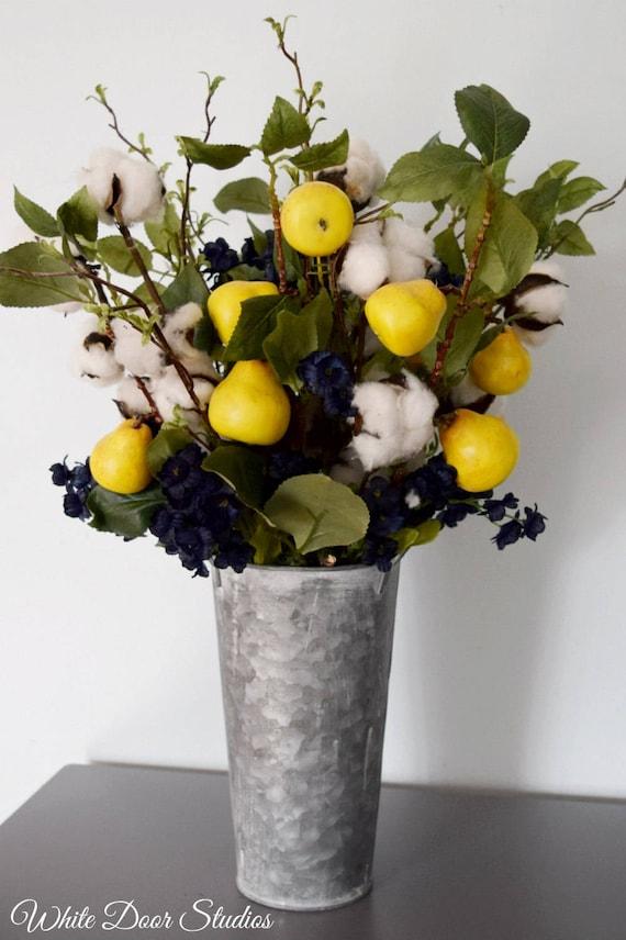 Farmhouse Style Cotton Stem and Pear Branch Floral Arrangement in Galvanized Metal Vase