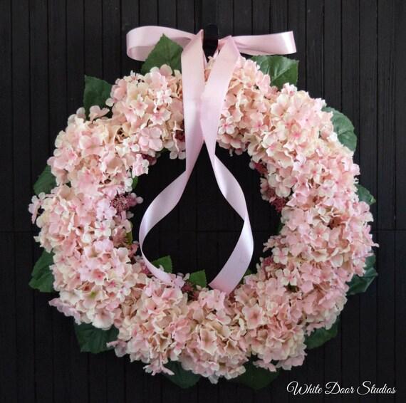 Pale Pink Hydrangea Front Door Wreath