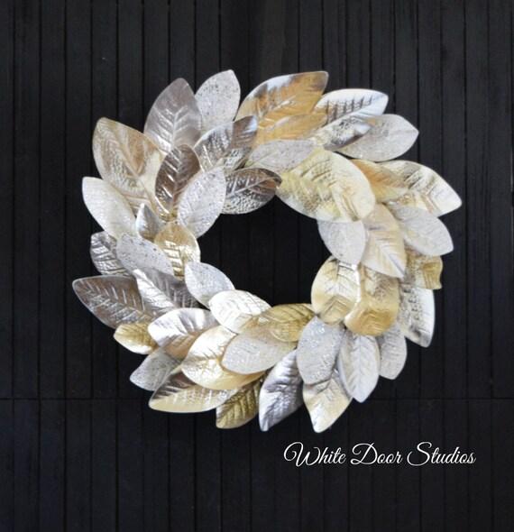 Gold Magnolia Leaf Front Door Wreath