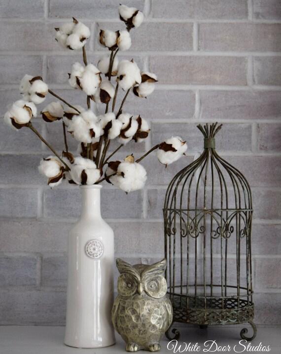 Cotton Stem Arrangement in White Vase for Farmhouse Decor