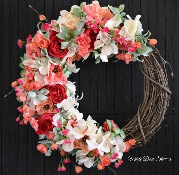Summer Floral Front Door Wreath
