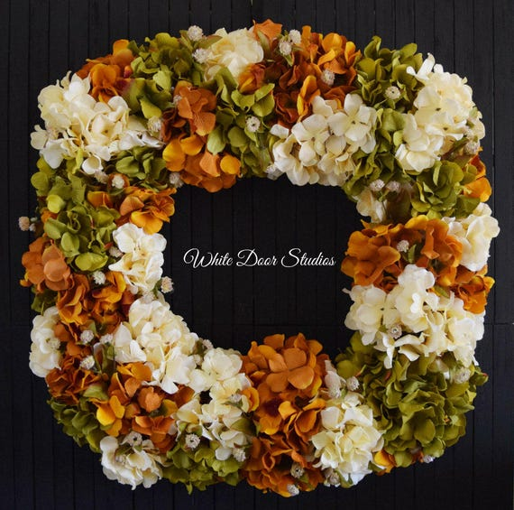 "Fall Square Hydrangea Wreath for Front Door - 26"" Diameter"