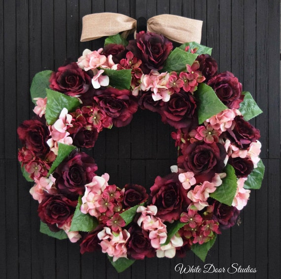 Autumn Rose and Hydrangea Front Door Wreath in Burgundy and Pink