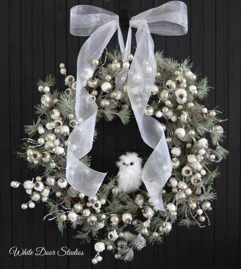 Non Christmas Winter Wreaths.Winter Holiday Front Door Wreath With White Owl White