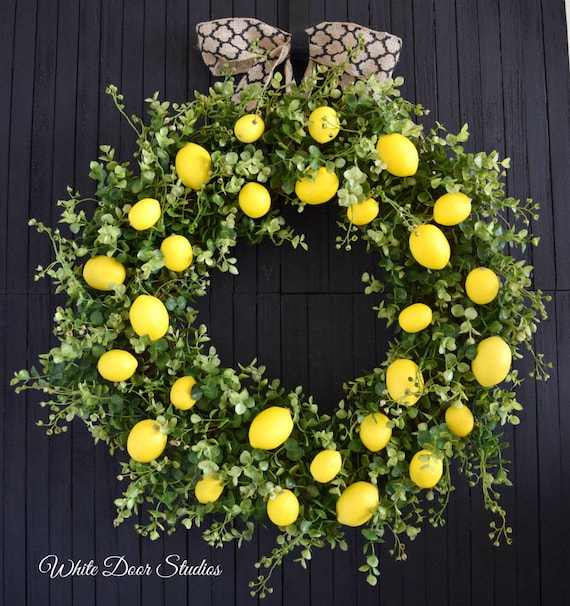 Lemon and Greenery Front Door or Kitchen Farmhouse Style Wreath