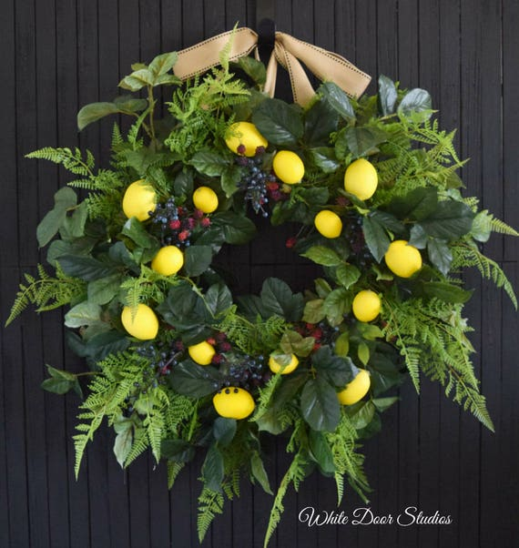 Summer Lemon and Berry Wreath for Front Door or Kitchen Decor