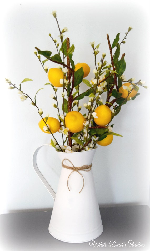 Farmhouse Lemon Branch and Cherry Blossom Arrangement in White Pitcher