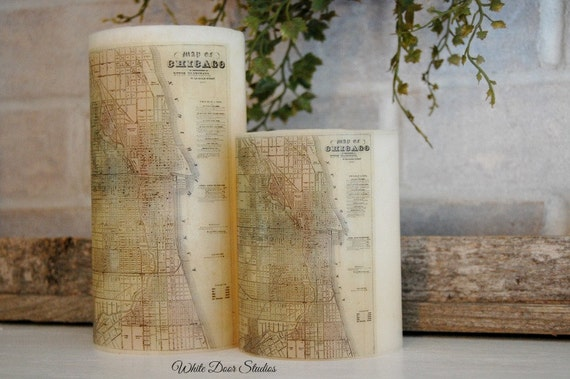 Chicago Antique Map Pillar Candle
