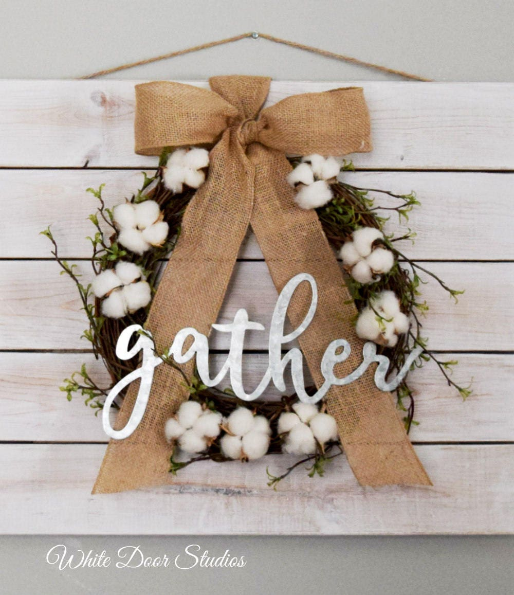 8ff04bc23e3 Farmhouse Pallet Wall Decor with Cotton Wreath and  Gather  Sign