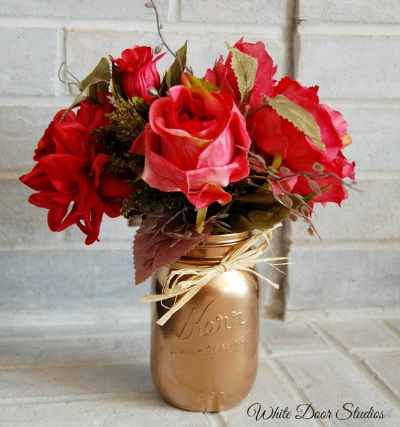 Pink Rose Arrangement in Copper Mason Jar