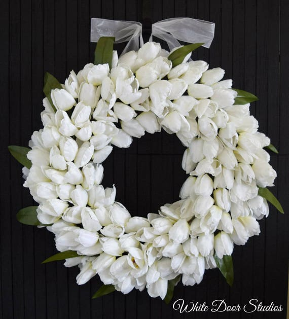 White Tulip Wreath for Front Door or Wedding Decor