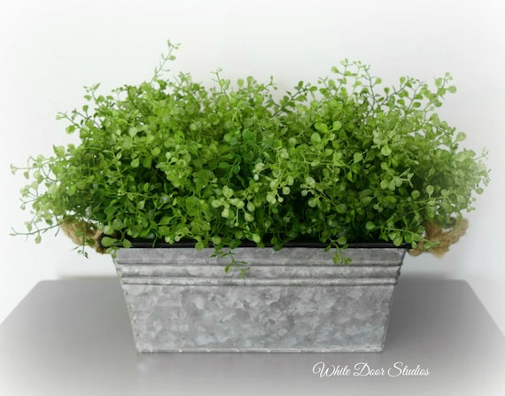 Rustic Greenery Centerpiece in Galvanized Metal Planter