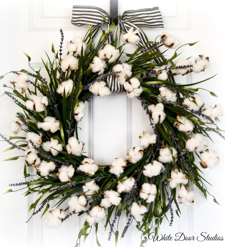 Cotton And Lavender Farmhouse Front Door Wreath With Greenery
