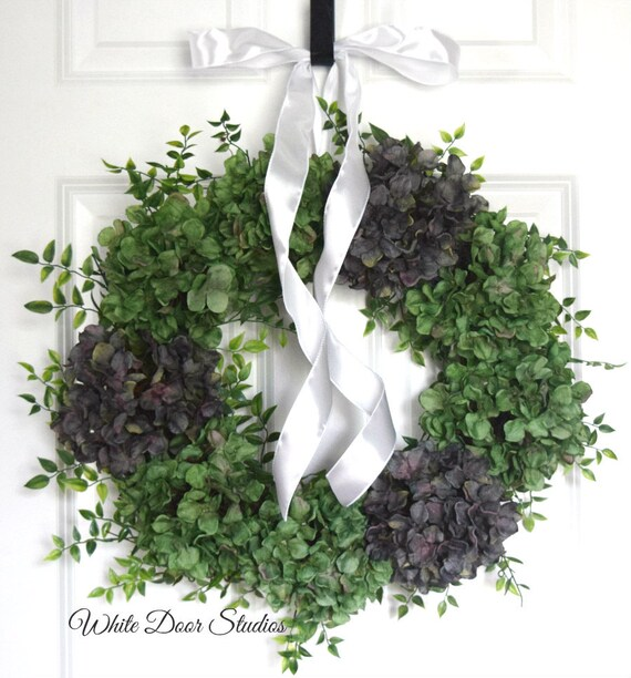 Green and Gray Hydrangea Year Round Front Door Wreath