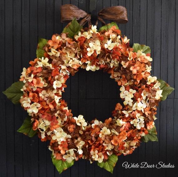 Orange Brown and Cream Fall Blended Hydrangea Front Door Wreath