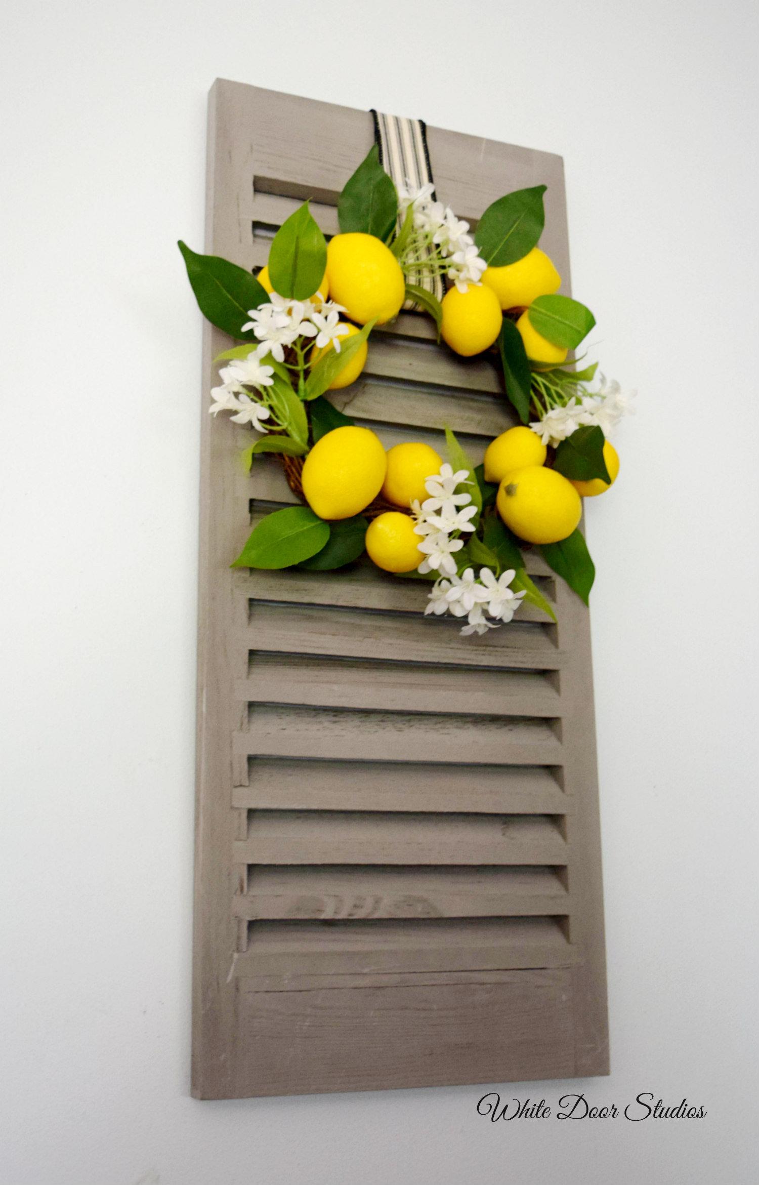 Mini Lemon Wreath With Decorative Shutter Wall Decor