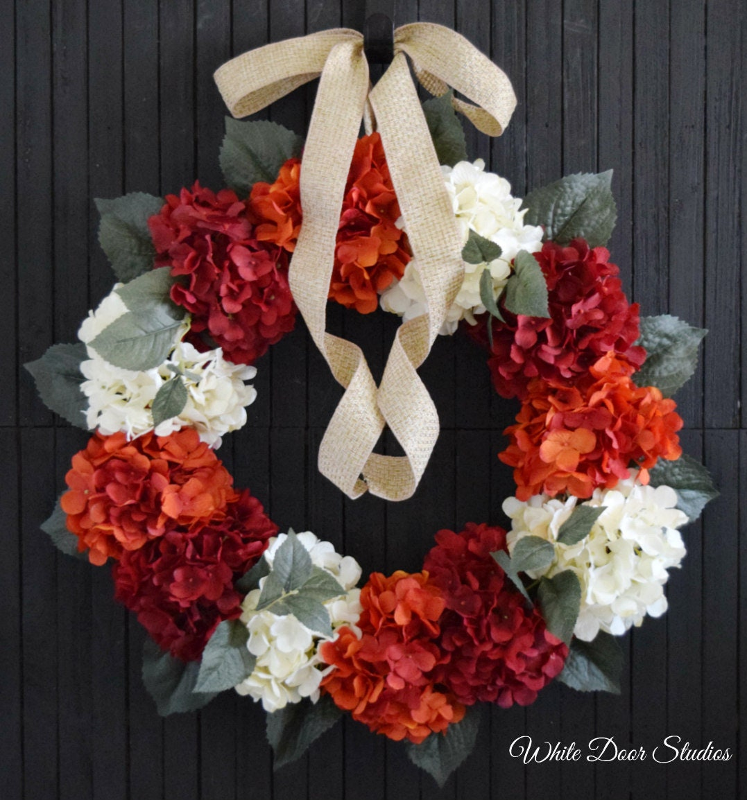 Red Orange And Cream Hydrangea Summer And Fall Front Door Wreath