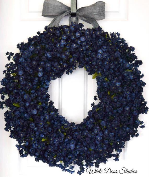 Navy Blue Ruffle Flower Front Door Wreath