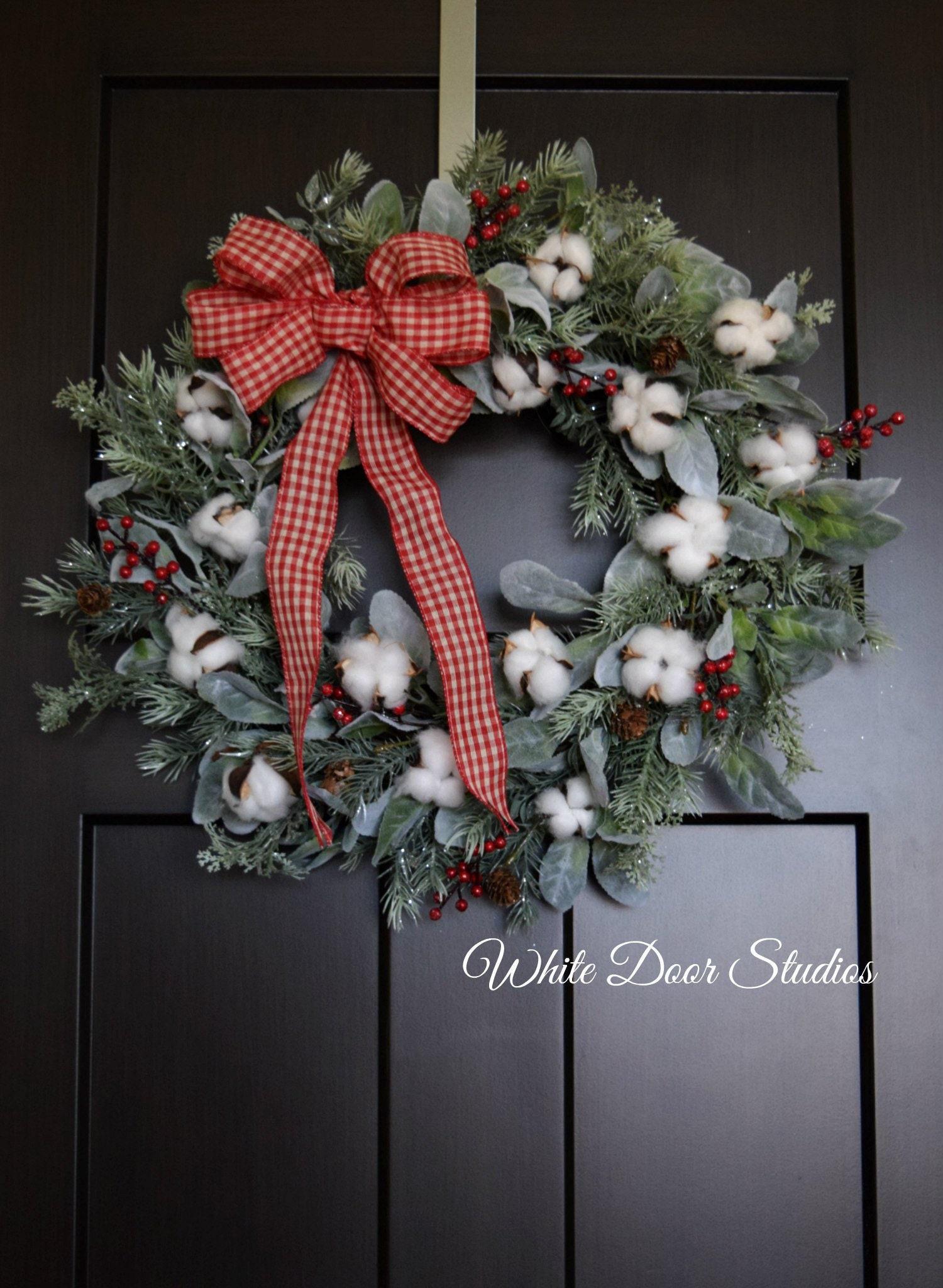 Farmhouse Christmas Wreath Pine Cotton Lambs Ear Winter Holiday