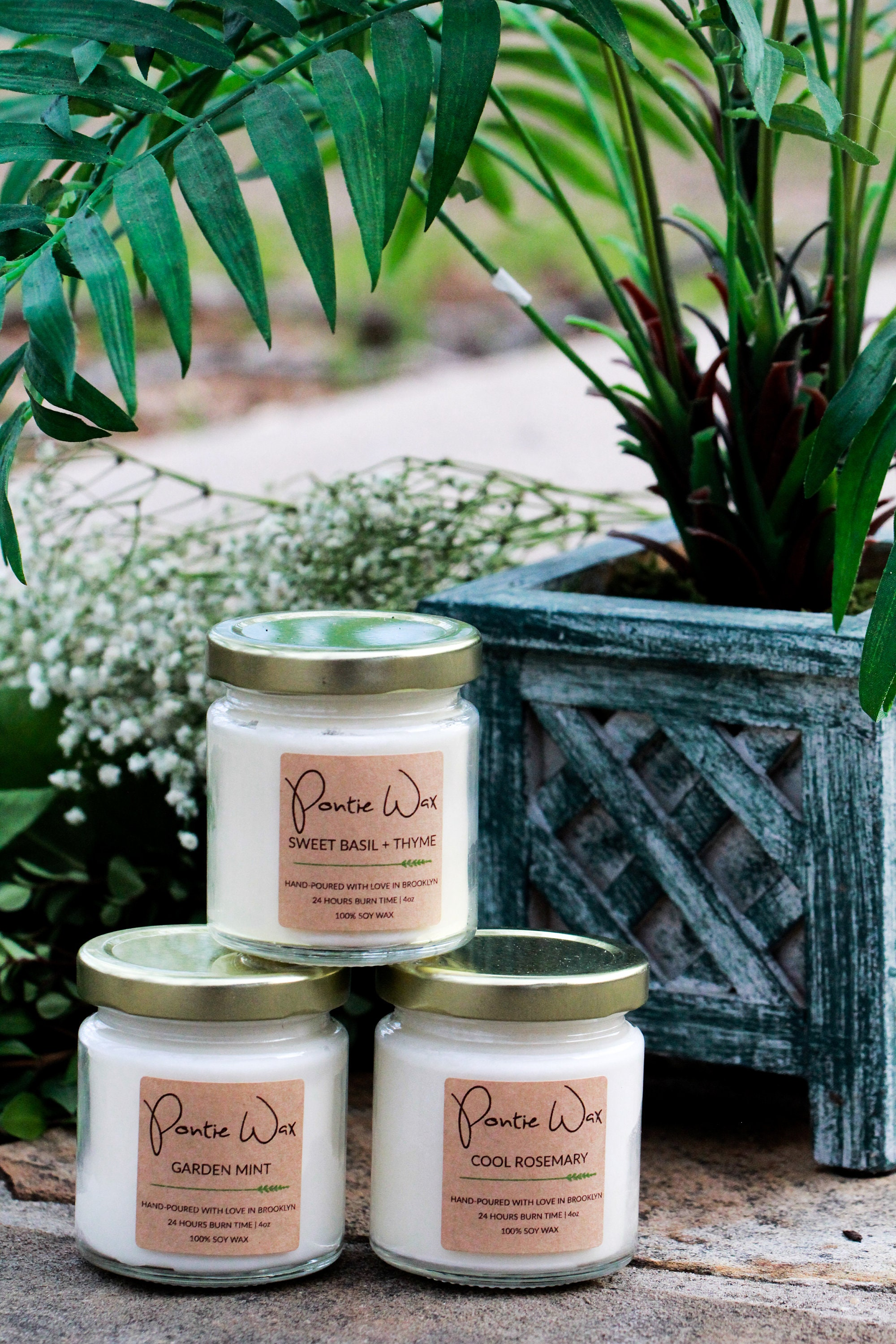 b62d5da7cd30 Herb Scented Rosemary Basil Thyme Mint Soy Wax Candle