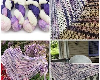 Sugar plum fairy drunk silk sock, hand dyed yarn shown on the Chorus shawl by Silent Knits. Purple, pink and cream yarn. merino silk