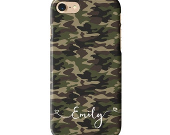 0a2c8e1d6b6d Personalised Camouflage Phone case for iPhone and Galaxy models - Army  Green Camo - Name and Flowing Hearts