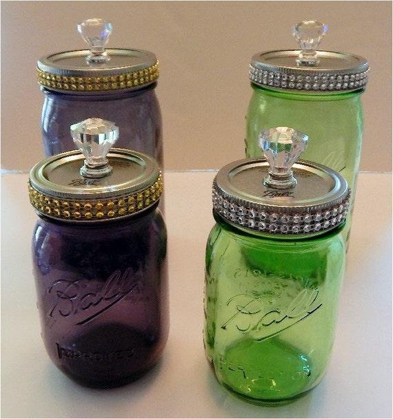 Ball American Heritage Mason Jar With Decorative Lid Green Or Purple Collectable Pint Size Jars Silver Or Gold Rhinestones Awesome Ball Decorative Jars