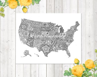 USA Coloring Page Adult Kids United States Map Printable Digital Download Travel