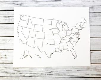 Usa coloring map | Etsy