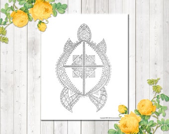 Adult Coloring Pages, Turtle Coloring Page, Instant Download, Relaxation Gifts, Zendoodle Coloring, Colouring Page, Printable Coloring