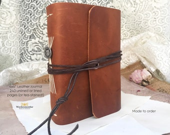 Leather Journal, Fathers Day Gift, Pocket Notebook, Writing Journal, Wanderlust Gifts, Personalized Journal, Unique Journal, Travel Journal