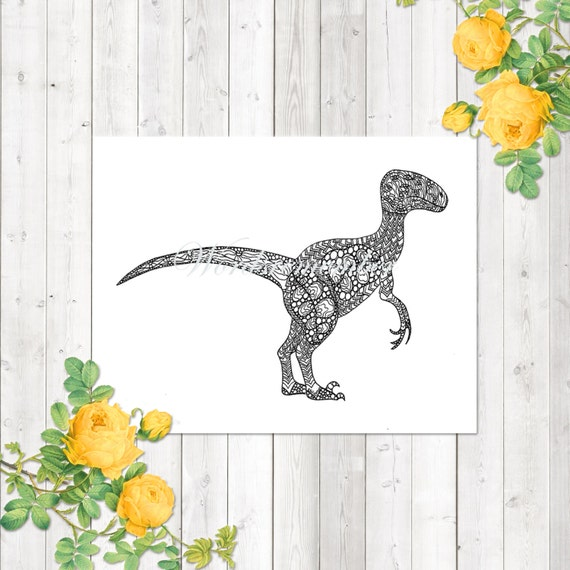 Dinosaur Coloring Page Velociraptor Coloring Page Adult | Etsy